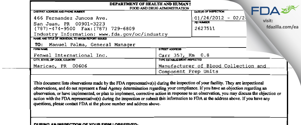 Fenwal International FDA inspection 483 Feb 2012