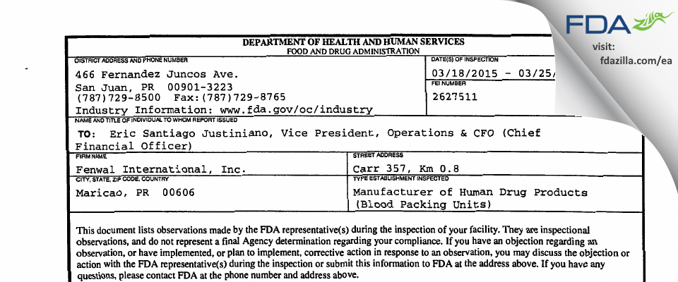 Fenwal International FDA inspection 483 Mar 2015