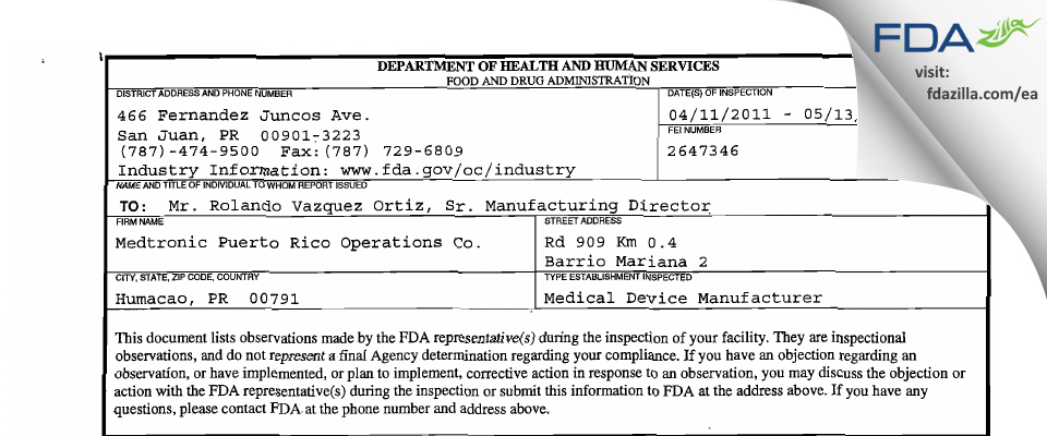 Medtronic Puerto Rico Operations FDA inspection 483 May 2011
