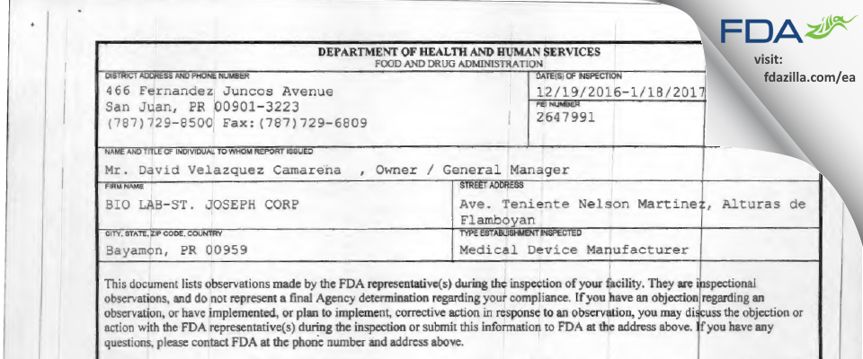 BIO LAB-ST. JOSEPH FDA inspection 483 Jan 2017