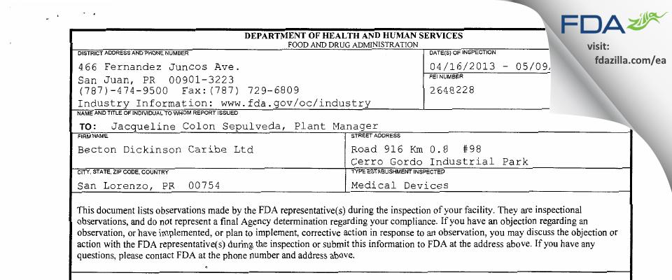 Becton Dickinson Caribe FDA inspection 483 May 2013