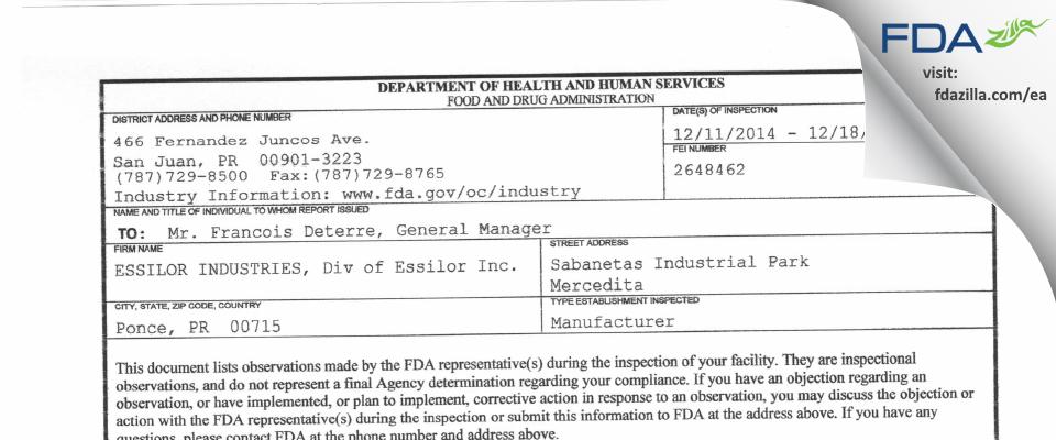 ESSILOR INDUSTRIES, Div of Essilor FDA inspection 483 Dec 2014