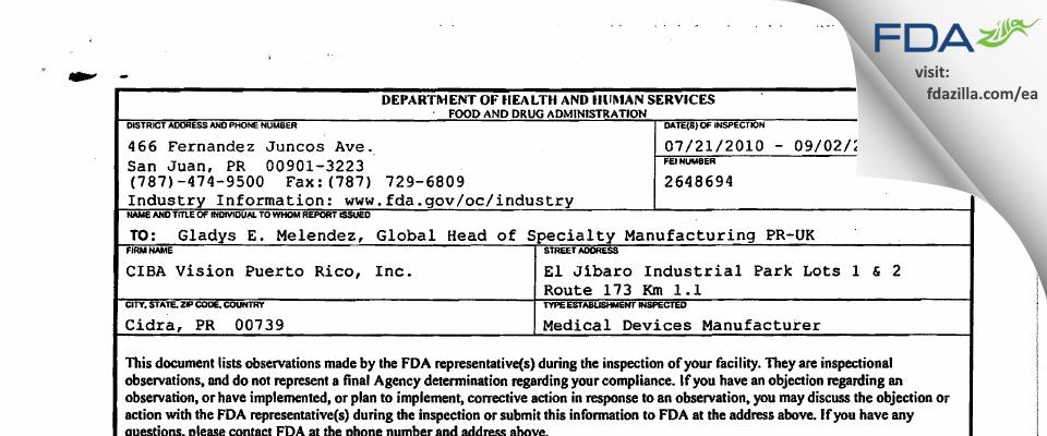 CIBA Vision Puerto Rico FDA inspection 483 Sep 2010