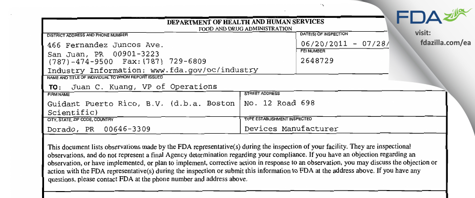 Guidant Puerto Rico, B.V. /dba Boston Scientific FDA inspection 483 Jul 2011