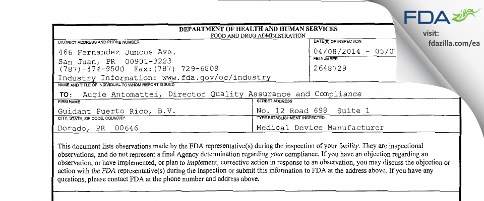 Guidant Puerto Rico, B.V. /dba Boston Scientific FDA inspection 483 May 2014
