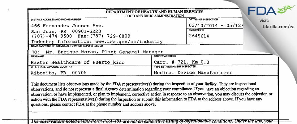Baxter Healthcare SA / dba Baxter Healthcare of Puerto Rico FDA inspection 483 May 2014