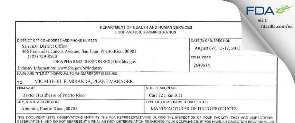 Baxter Healthcare SA / dba Baxter Healthcare of Puerto Rico FDA inspection 483 Aug 2018