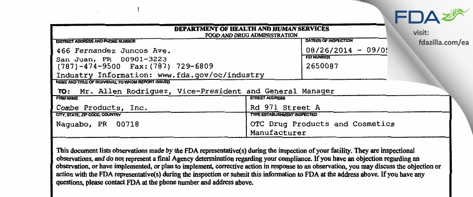 Combe Products FDA inspection 483 Sep 2014
