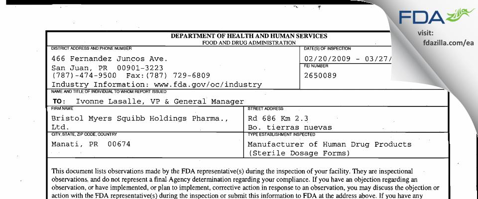 Bristol-Myers Squibb Holdings Pharma Liability Company FDA inspection 483 Mar 2009