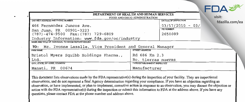 Bristol-Myers Squibb Holdings Pharma Liability Company FDA inspection 483 Mar 2010