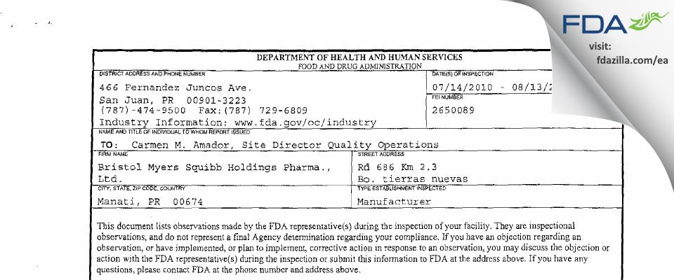 Bristol-Myers Squibb Holdings Pharma Liability Company FDA inspection 483 Aug 2010