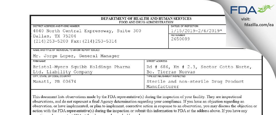 Bristol-Myers Squibb Holdings Pharma Liability Company FDA inspection 483 Feb 2019
