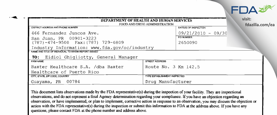 Baxter Healthcare FDA inspection 483 Sep 2010
