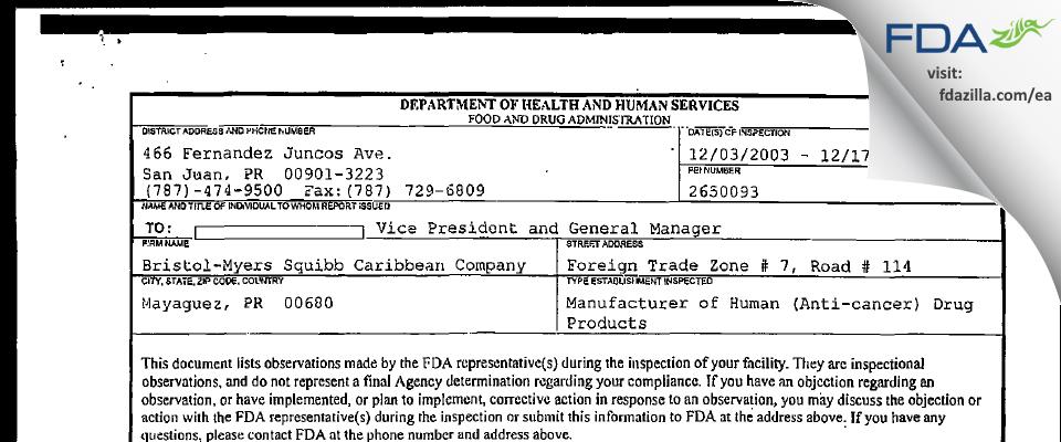 Bristol Myers Squibb Caribbean Company FDA inspection 483 Dec 2003