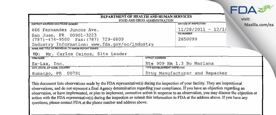 Ex-Lax FDA inspection 483 Dec 2011