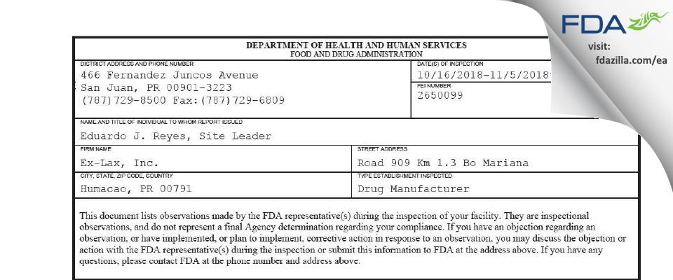 Ex-Lax FDA inspection 483 Nov 2018