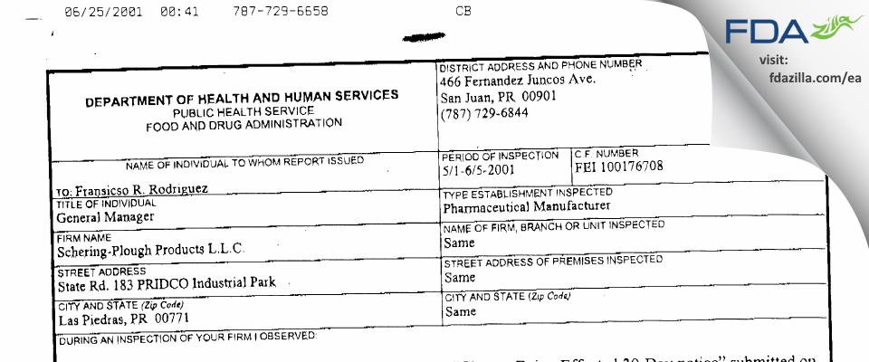 MSD International (Puerto Rico Branch) FDA inspection 483 Jun 2001