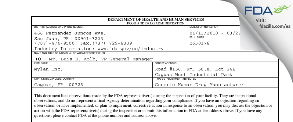 Mylan. FDA inspection 483 Mar 2010