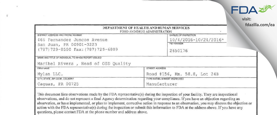 Mylan. FDA inspection 483 Oct 2016