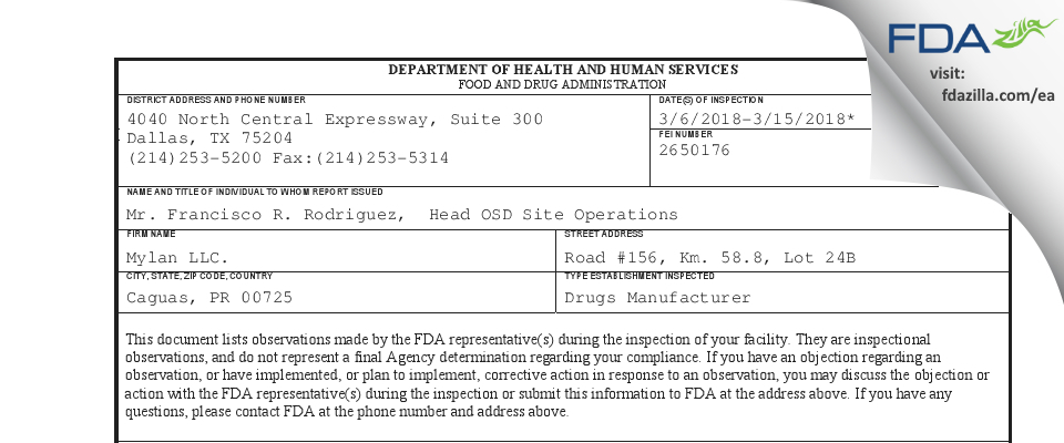 Mylan. FDA inspection 483 Mar 2018