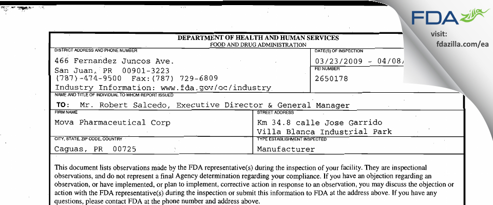 Patheon Puerto Rico FDA inspection 483 Apr 2009
