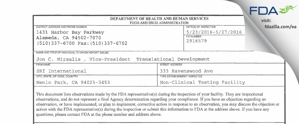 SRI International FDA inspection 483 May 2016