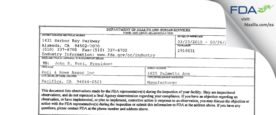 Pori & Rowe Assoc FDA inspection 483 Mar 2015