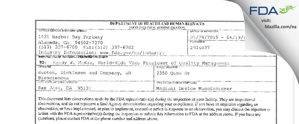 Becton, Dickinson and Company, BD Biosciences FDA inspection 483 Jun 2015