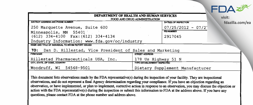 Hillestad Pharmaceuticals USA FDA inspection 483 May 2012