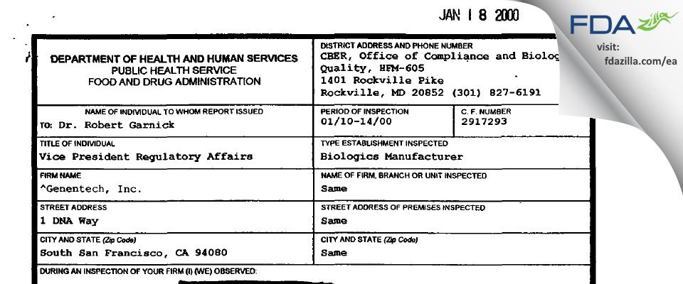Genentech FDA inspection 483 Jan 2000