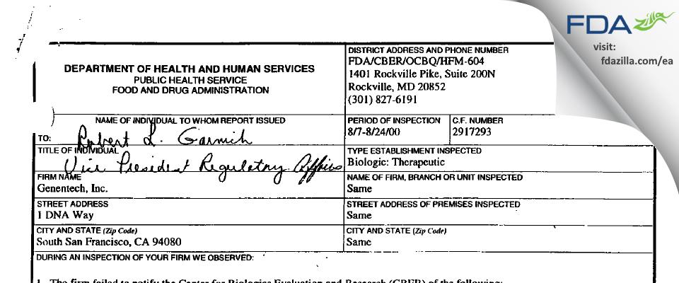 Genentech FDA inspection 483 Aug 2000