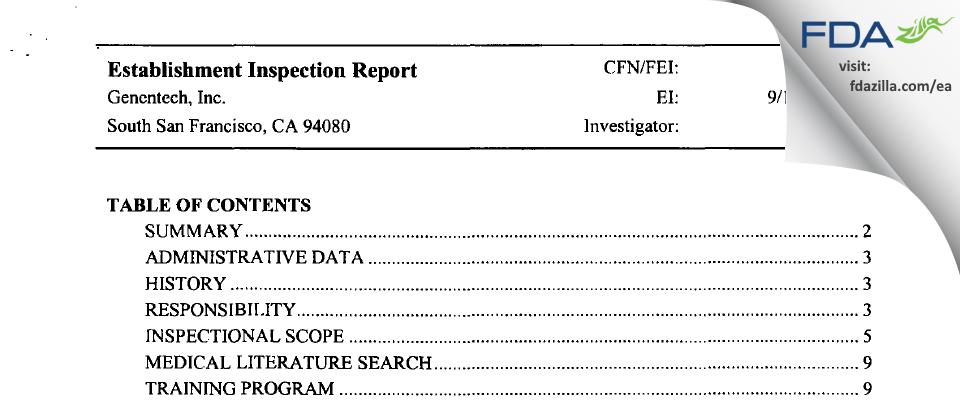 Genentech FDA inspection 483 Sep 2002