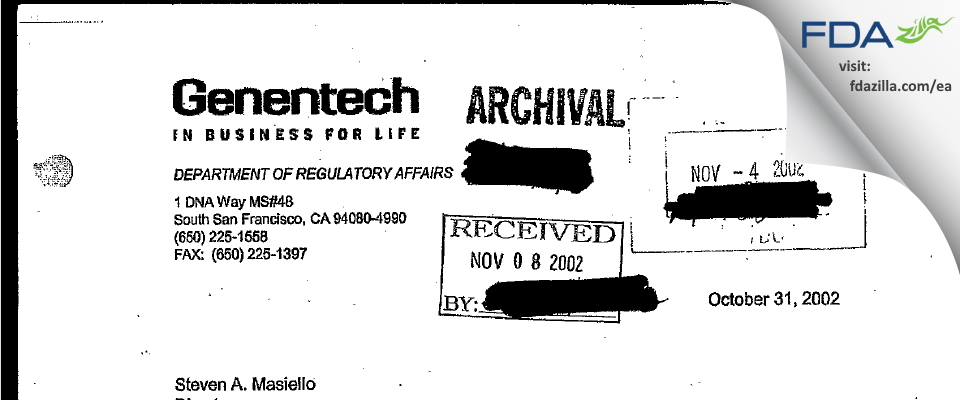 Genentech FDA inspection 483 Oct 2002