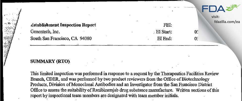 Genentech FDA inspection 483 Mar 2006