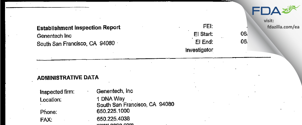 Genentech FDA inspection 483 Jun 2006