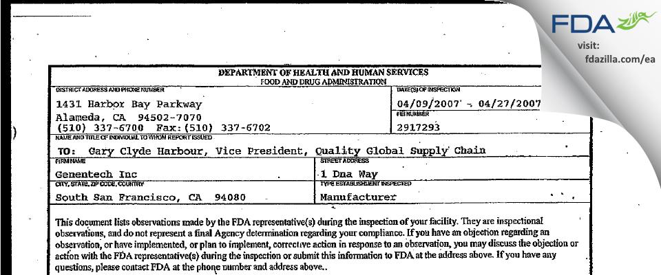 Genentech FDA inspection 483 Apr 2007