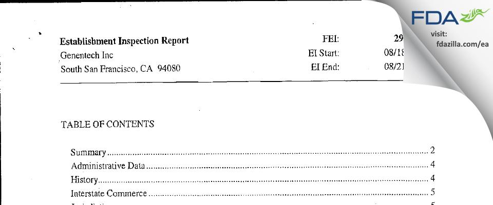 Genentech FDA inspection 483 Aug 2009