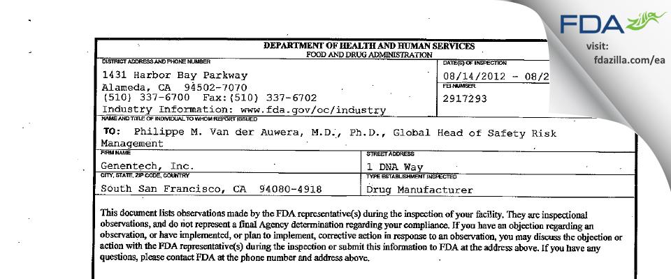Genentech FDA inspection 483 Aug 2012