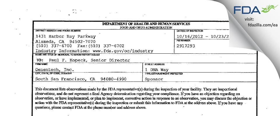 Genentech FDA inspection 483 Oct 2012