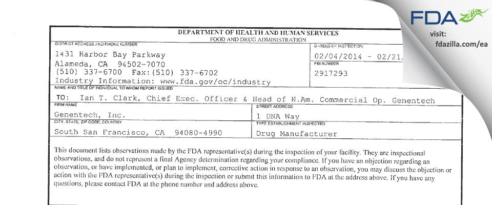 Genentech FDA inspection 483 Feb 2014
