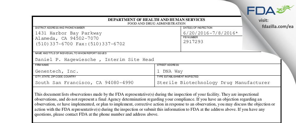 Genentech FDA inspection 483 Jul 2016