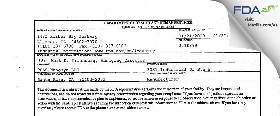 Nanosyn FDA inspection 483 Jan 2010