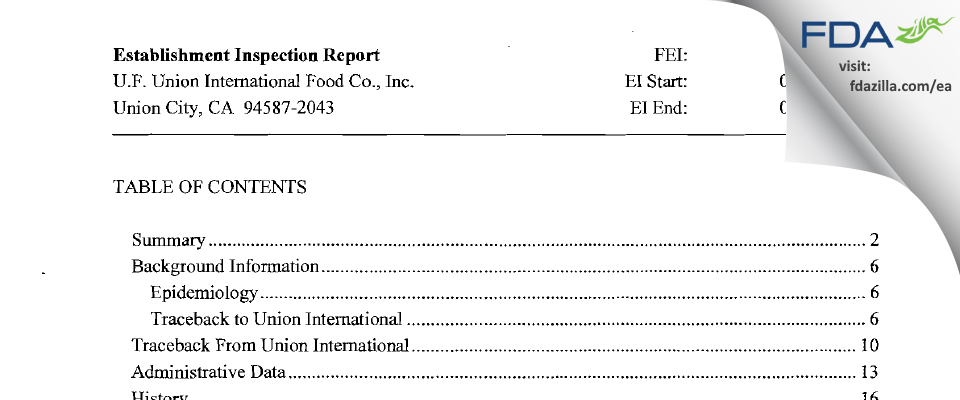 U.f. Union International Food FDA inspection 483 Jul 2009