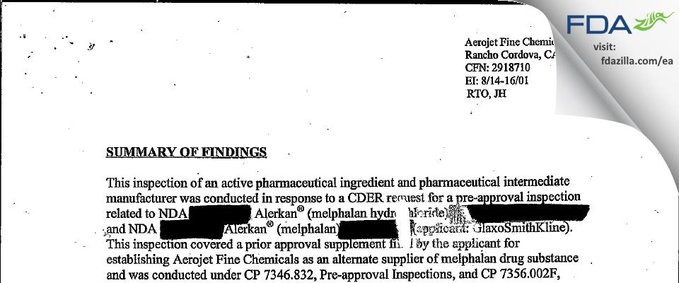 AMPAC Fine Chemicals FDA inspection 483 Aug 2001