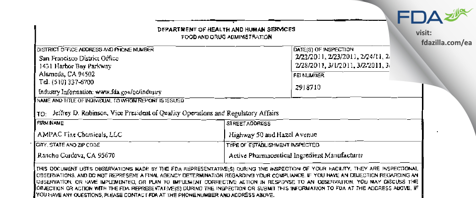 AMPAC Fine Chemicals FDA inspection 483 Mar 2011