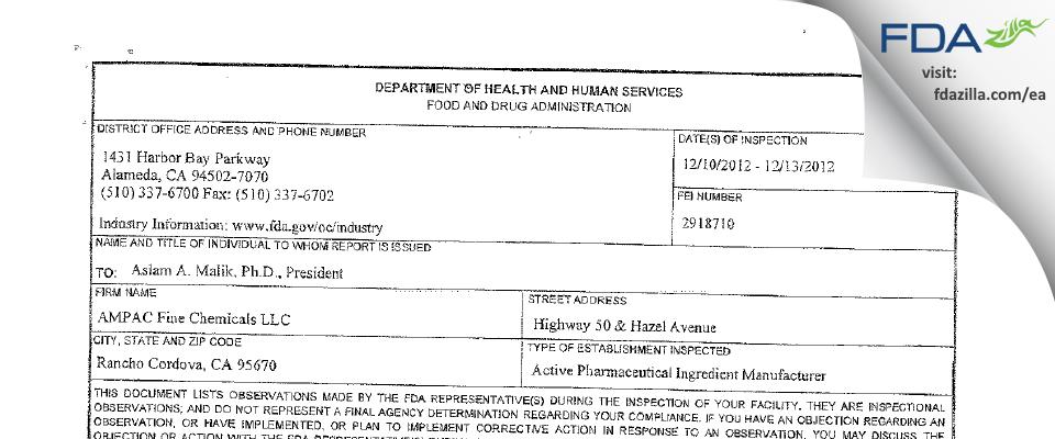 AMPAC Fine Chemicals FDA inspection 483 Dec 2012
