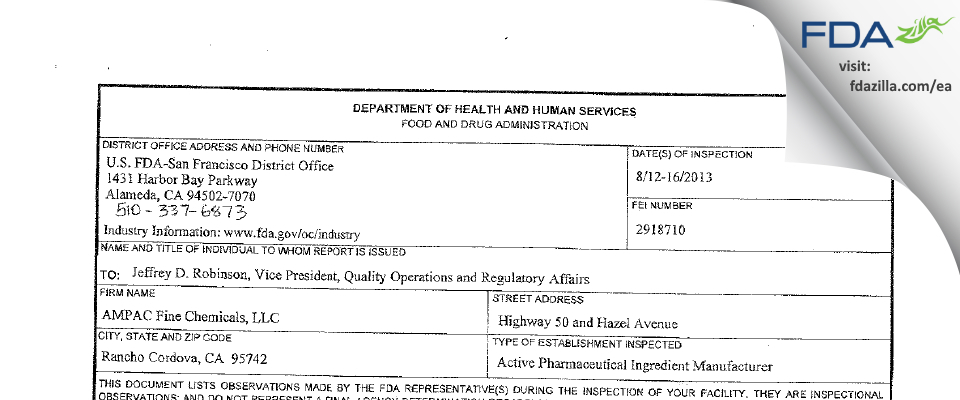 AMPAC Fine Chemicals FDA inspection 483 Aug 2013