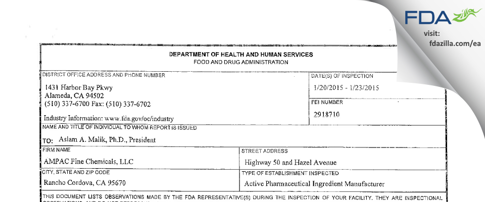 AMPAC Fine Chemicals FDA inspection 483 Jan 2015