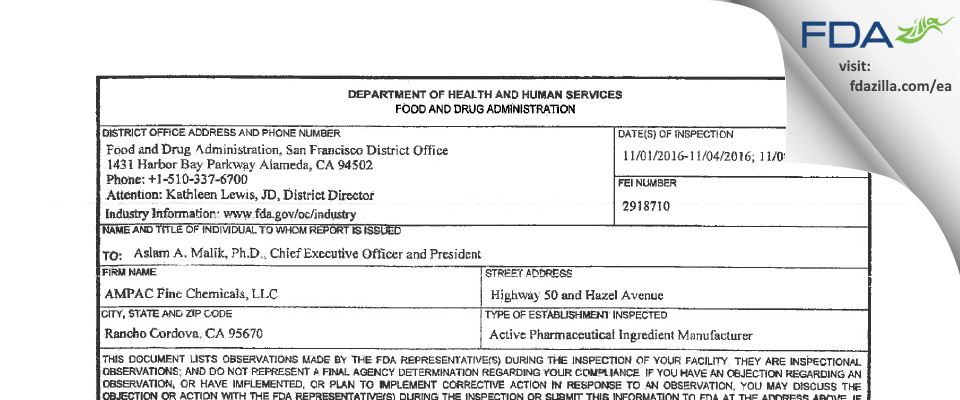 AMPAC Fine Chemicals FDA inspection 483 Nov 2016