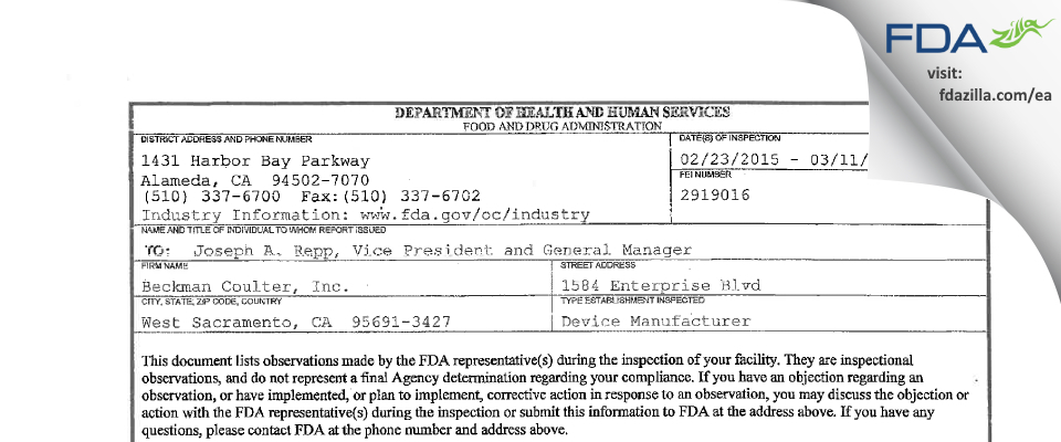 Beckman Coulter FDA inspection 483 Mar 2015